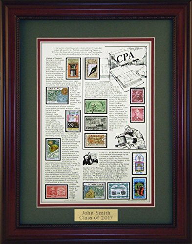 American Stamp Art by Creative Framing CPA - Unique Framed Collectible (A Great Gift Idea) with Personalized Engraved (Collectible Gift Plate)