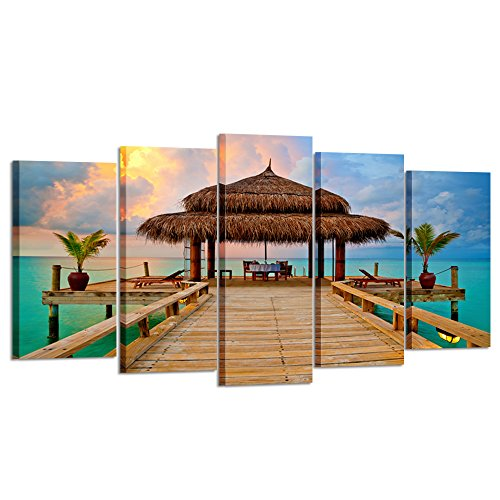 Kreative Arts - Large 5 Pieces Canvas Prints Tropical Hut on Water at Sunset Wall Art Seascape Pictures Gallery Wrapped Nature Summer Artwork Ready to Hang for Living Room (Large Size 60x32inch) (Tropical Sale For Artwork)