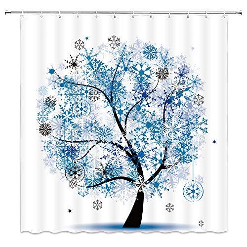 Feierman Christmas Shower Curtain New Year Decor Blue