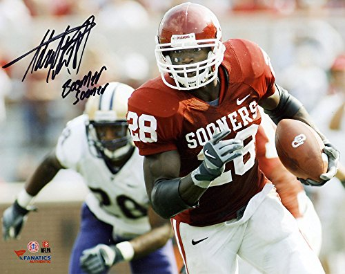 "Adrian Peterson Oklahoma Sooners Autographed 8"" x 10"" Horizontal Photograph with Boomer Sooner Inscription -..."