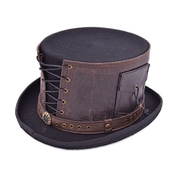 Euro Steampunk Leather Strapped TOP Hat 3