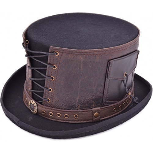 Euro Steampunk Leather Strapped TOP Hat