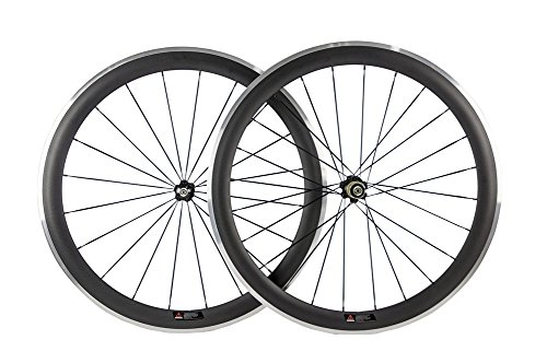 (Sunrise Bike 700c Carbon Fiber 50mm Wheelset with Clincher Alloy Braking Surface Carbon Wheel)