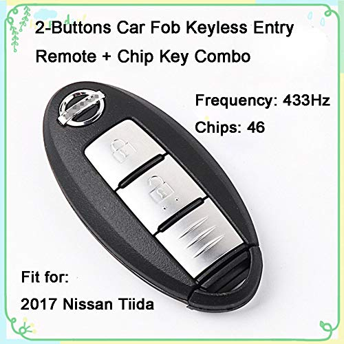 - 1 Sets 2 Buttons 433Hz Car Key Fob Keyless Entry Replacement Intelligent Smart Card Alarm Key Transmitter Programmer Remote Control & Uncut 46 Chips Key Combo for Nissan 2017 Tiida 10332