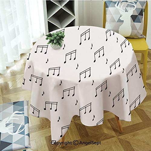 Modern Washable Round Tablecloths Musical Notes Themed Melody Sonata Singing Songs Clef Tunes Hand Drawn Style Pattern Print for Round Table,Indoor/Outdoor Spillproof Diameter 47 Inches,Black -
