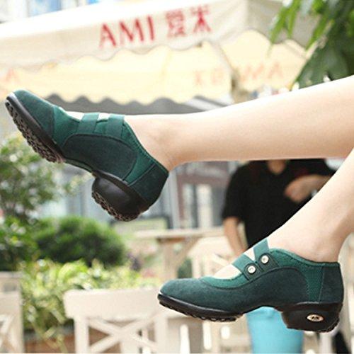 Gros Talon Chnhira Danse Chaussure Souple Sneakers Semelle A Jazz Respirant Maille Vert Femme De S6SXI