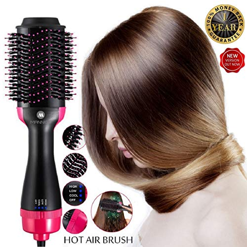 Hot Air Brush One Step Hair Dryer Volumizer Styler Brush,Hair Brush Straightener 2-in-1 Negative Ion Straightening Brush,Salon Reduce Frizz Styling Tools & Appliances Hot-Air Brushes Black
