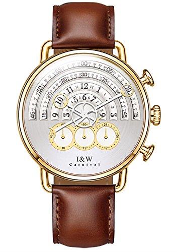 CARNIVAL Analog Quartz Chronograph Sport Watches for Men Gold White Dial Leather Band (Brown)