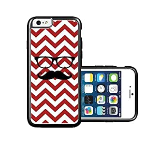 RCGrafix Brand Hipster-Mustache red Chevron black iPhone 6 Case - Fits NEW Apple iPhone 6