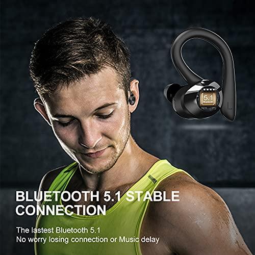 Auriculares Inalambricos Deportivos, Auriculares Bluetooth 5.1 con Mic y Caja de Carga USB-C Cascos Bluetooth In Ear IPX7 Impermeable, CVC8.0 Cancelación de Ruido, Auriculares Running Viajes, Deporte