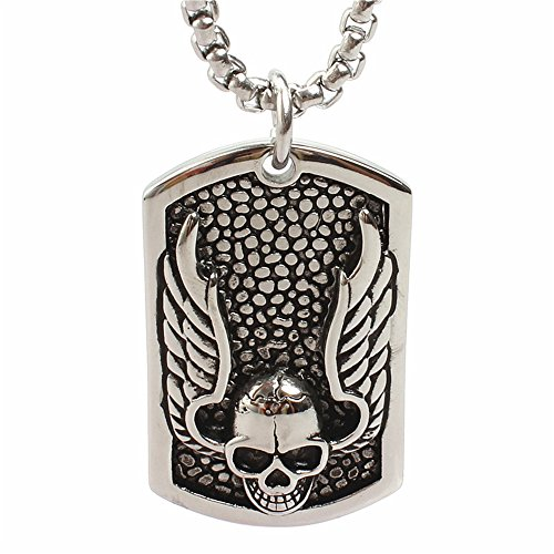 Men's Vintage Titanium Tag Skull Wings Rock Punk Stainless Steel Pendant Neclaces with Chain (Candy Skull Costume)