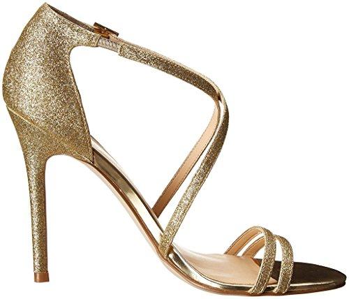 EDEFS Womens Open Toe Cross Strap Sandals Ankle Buckle High Heels Silver Glitter Dress Shoes Gold mdioXY