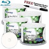 Smartbuy 200-disc 25GB 6x BD-R Blu-Ray White Inkjet Hub Printable Blank Media Disc + Black Permanent Marker