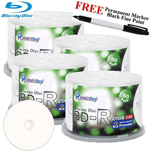 Smartbuy 200-disc 25GB 6x BD-R Blu-Ray White Inkjet Hub Printable Blank Media Disc + Black Permanent Marker by Smartbuy