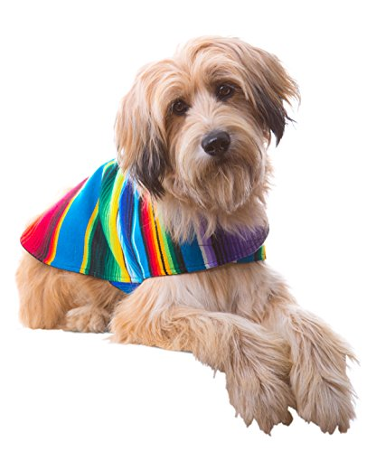 Baja Ponchos Shih Tzu Clothes - Handmade Dog Poncho from Authentic Mexican Blanket (No Fringe, Medium)