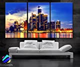 Original by BoxColors Large 30''x 60'' 3 Panels 30x20 Ea Art Canvas Print Beautiful Detroit Skyline multi color Wall Home (Included Framed 1.5'' Depth)