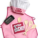Pink Junior Apron and Kid's Baking Set | One Size fits Most (Wood Spoons)