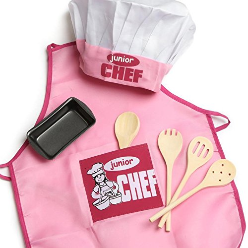 Pink Junior Apron and Kid's Baking Set | One Size fits Most (Wood Spoons) by Factory Direct Craft