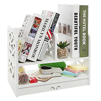 White Decorative Freestanding Book Shelf / 2 Tier Stand Alone Desk Organizer Decor Shelves - MyGift