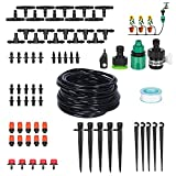 Elindio Patio Garden Drip Irrigation Kit 50ft Drip Irrigation System Blank Distribution Tubing Hose DIY Plant Watering Kit, Misting Cooling System with Sprayers Mister Nozzle for Garden Flower Beds