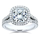 Cushion D-E-F Moissanite with Diamond Split Shank Halo Engagement Ring 3 1/3 CTW 14k White Gold, 7