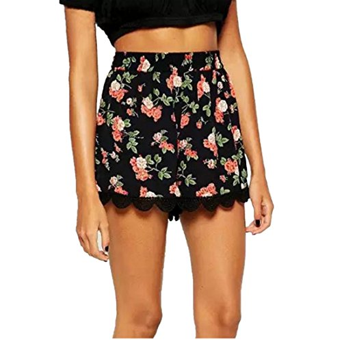 Sumen Shorts, Floral Printing High Waist Lace Summer Shorts for Teen Girls
