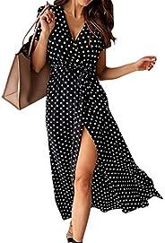Cotrio Women Summer Dress Boho Floral Printed Wrap V Neck Short/Long Sleeves Casual Maxi Bohemian Beach Party