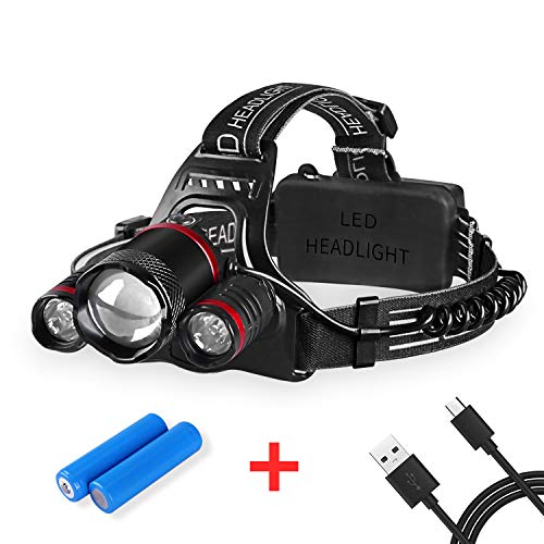 (Intelligent Light Sense Headlamp, 5000 LM Rechargeable LED Head Flashlight 5 Modes Zoomable Headlight Waterproof, rechargeable Batteries Included)