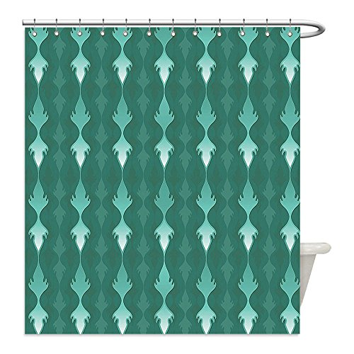 Van Gogh Fancy Dress Costume (Liguo88 Custom Waterproof Bathroom Shower Curtain Polyester Teal Decor Collection Abstract Vertical Curvy Lines Ornament Fancy Tablecloth Fabric Style Design Green Decorative bathroom)