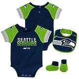 NFL by Outerstuff NFL Seattle Seahawks Newborn & Infant 50 Yard Dash Bodysuit, Bib & Bootie Set Dark Navy, 12 Months