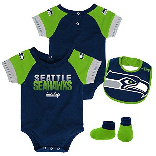 Outerstuff NFL NFL Seattle Seahawks Newborn & Infant 50 Yard Dash Bodysuit, Bib & Bootie Set Dark Navy, 24 ()