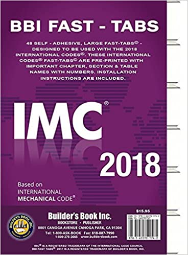 2018 International Mechanical Code (IMC) Fast Tabs 2018 International Mechanical Code (IMC) Fast Tabs: Builders Book Inc: 9781622701742: Amazon.com: Books