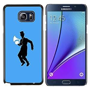 EJOOY---Cubierta de la caja de protección para la piel dura ** Samsung Galaxy Note 5 5th N9200 ** --Music Man Machine vintage Sombrero Negro Danza