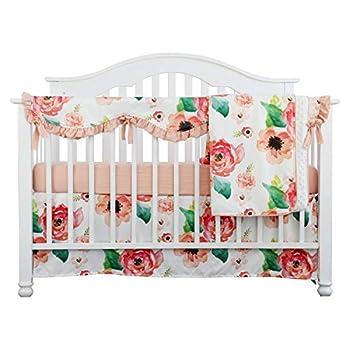 Image of 4PCS Crib Rail Guard Set Boho Floral Nursery Baby Bedding Ruffled Crib Skirt Crib Rail Cover Set (Ruffle Coral Watercolor) Home and Kitchen