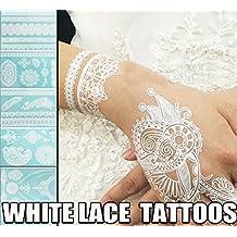 WellieSTR Set of 9 White Lace Temporary Tattoo Sticker Waterproof Henna Tatoo Bracelet Sleeve Flash Fake Tatouage Women Body Art Jewelry