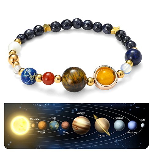 Handmade Universe Guardian Bracelets Nine Planets Star Natural Stone Astronomy Bracelet for Women Men Gift