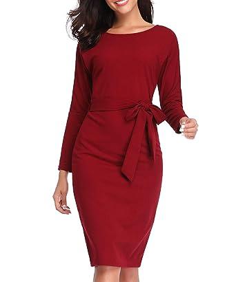 f80f08aaf911 Fellissy Kleider Damen, Tshirt Kleid Casual Blusenkleider Partykleid mit  Gürtel, Rundhals Langarm V-