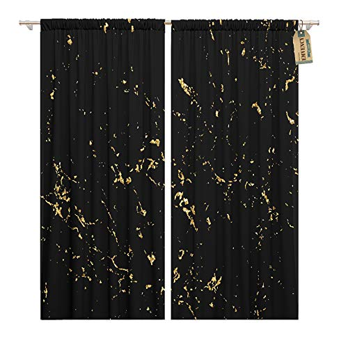 - Emvency Window Curtains 2 Panels Rod Pocket Drapes Satin Polyester Blend Marble Gold Patina Scratch Golden Sketch to Create Distressed Effect Overlay Living Bedroom Drapes Set 104 x 63 Inches