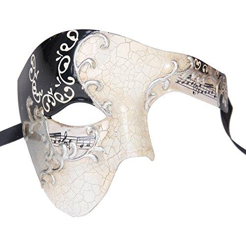 Xvevina Mask Men's Phantom of The Opera Half Face Masquerade Mask Vintage Design (Black Silver Musical) (Maske Masquerade)