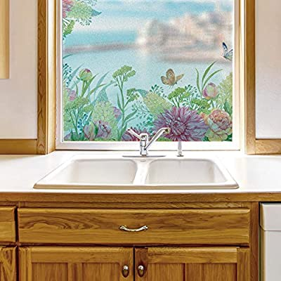 With Expert Quality, Marvelous Creative Design, Window Film for Privacy Story Plants Large Decorative Glass Sticker for Office Home Meeting Room Bathroom Self Adhesive Anti UV Removable Flims