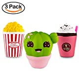 BeYumi Slow Rising Toy, 3 Pack of Kawaii Squishy Toy, Cactus + Popcorn + Cream Drink, Cream Scented Simulation Cute Squishy Toys Gift for Kids Lovely Stress Relief Toy