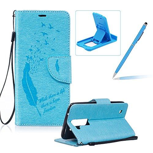 LG K7/K8 Lederhülle Brieftasche Handy Hülle Case,LG K7/K8 Komplett Schutz Kartenfach Schutzhülle Tasche Leder Flip Case,Herzzer Standfunktion Staubdicht Mit Sprüche Lanyard [Feder Muster] Bookstyle Magnet Ultra Dünn Slim Portemonnaie Hülle Cover Schale Leder Wallet Case Shell Skin für LG K7/K8 + 1 x Frei Blau Handy Halterung Ständer + 1 x Frei Blau Touch Pen Stift Stylus - Blaue