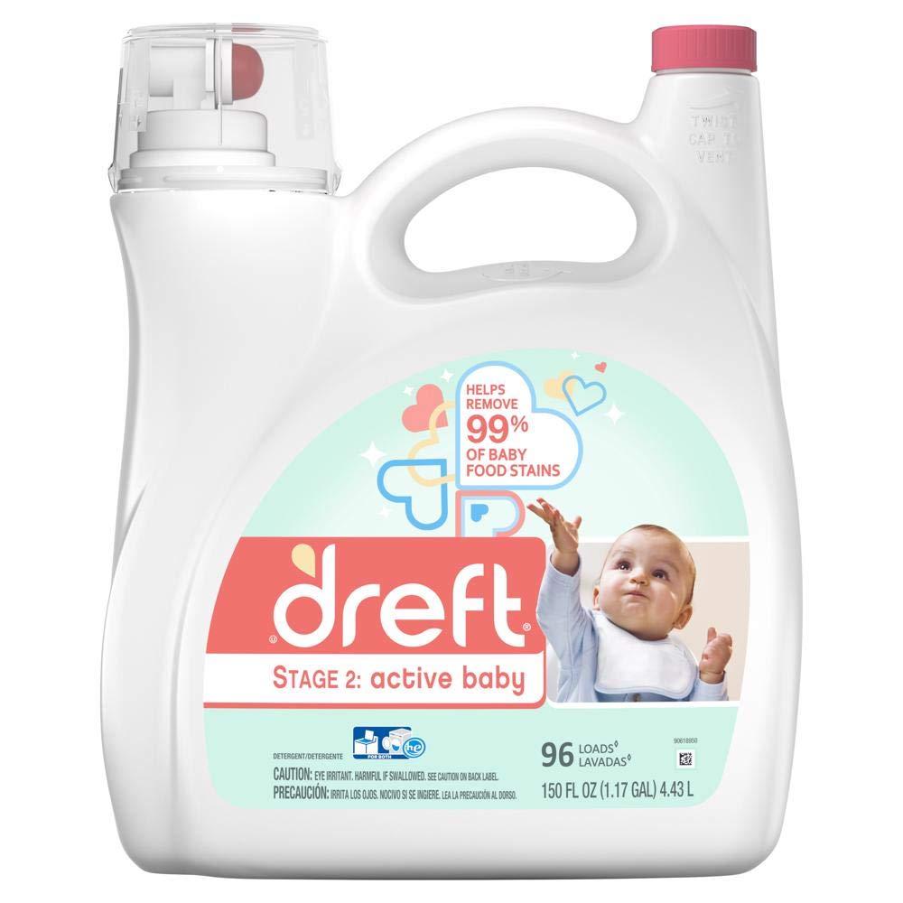 Dreft Stage 2: Active Baby Liquid Laundry Detergent (HE), 150 oz, 96 Loads
