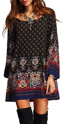 Risesun Women's Bohemian Vintage Printed Ethnic Style Loose Casual Tunic Dress, Black, M