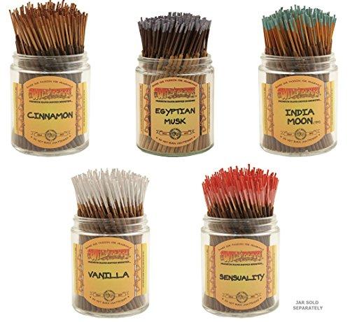WILDBERRY Short Incense Sticks - Set of 5 Autumn Fragrances - Cinnamon, Egyptian Musk, India Moon, Sensuality, Vanilla (Pack of 100 Each, Total 500 Sticks) ()