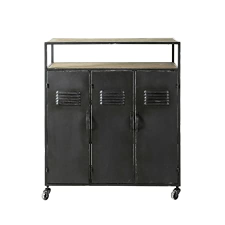 Aprodz Mango Wood and Sheetmetal Wine Storage Stylish James Bar Cabinet for Living Room | Grey