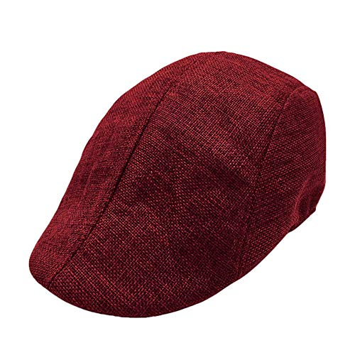 Men Summer Breathable Beret Flat Cap Visor Hat Sun Cap Casual Mesh Solid Low Profile Hat Vintage Trucker Cap (Wine Red)