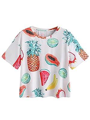 Romwe Women's Allover Fruit Print Top Short Sleeve Cute T-Shirt