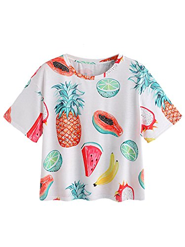 Romwe Womens Allover Fruit Print Top Short Sleeve Cute T-Shirt