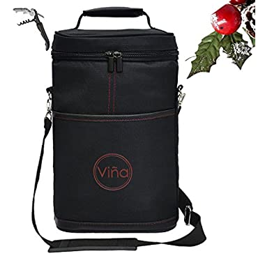 Vina 2-bottle Wine Carrier Bag Champagne Carrying Tote Bags Picnic Cooler Insulated Travel Wine Case Black +Free Corkscrew, Christmas Gift